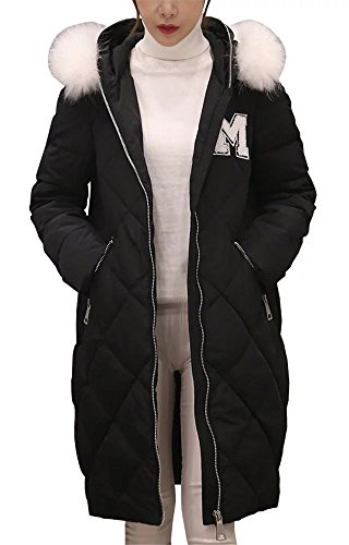 Women Winter Real Fur Hoodie Padded Quilted Long Parka Down Coat Overcoat Black (Ll Bean Womens Quilted Jacket compare prices)