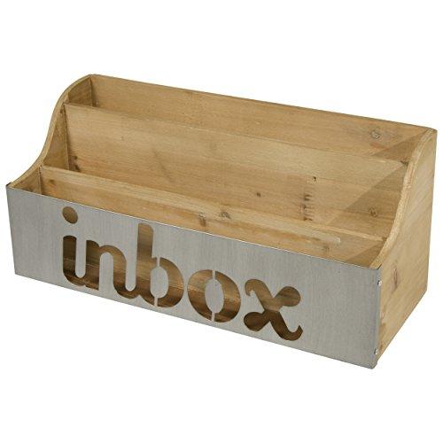 Desktop Wooden Letter Sorter with Inbox Metal Panel (Natural)