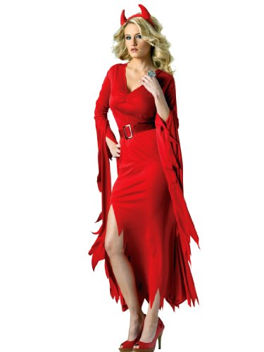 Red Devil Costume Dress Flame-Cut Style Hem with Horns Women Theatrical Costume