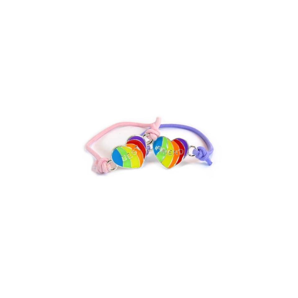Friends 4 Ever   Best Friend Heart Shape Adjustable Soft Foam Bracelets