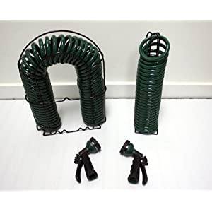 Magna-Hose 50' & 25' Coiled Hose Combo with Wire Rack