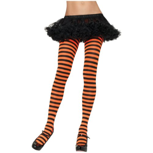 Nylon Striped Tights Hosiery - One Size - Dress Size 6-12