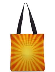 Snoogg Orange Rays Background Designer Poly Canvas Tote Bag
