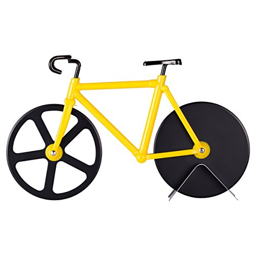 Topbest Most Creative Pizza Cutter Bicycle designing Stainless Steel Non-Stick Sharp Black Blade Dual Cutting Wheels with Stand - Great