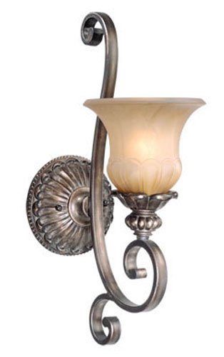 Vaxcel USA BGVLU001PZ Bellagio 1 Light Traditional Wall Sconce Lighting Fixture in Bronze, Glass