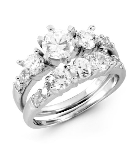 925 Sterling Silver Round Prong Set CZ Engagement Ring