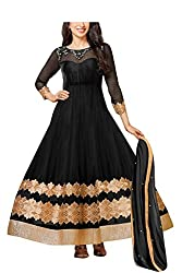 FastColors Women's Georgette Long Anarkali Unstitched Salwar Suit Dress Material(50015_FC_Black)
