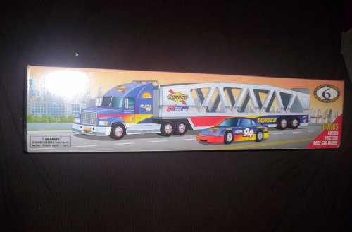 SUNOCO 1999 CAR CARRIER TRUCK TRAILER SERIES 6 BONUS RACE CAR INSIDE - 1
