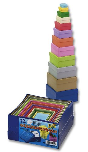 Folia 3109 - Cardboard Gift Box, Coloured, 12 Pcs in Various Sizes and Colours