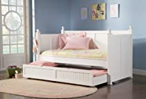 Hot Sale Coaster Fine Furniture 300026 Wood Daybed with Trundle, White Finish