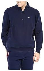 UV&W Men's Fleece Sweatshirt (MFTCK34_S_Navy Blue, Navy Blue Small)