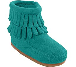 Minnetonka Girl\'s Kids\' Double Fringe Side Zip Bootie Infant Turquoise Suede 5T M