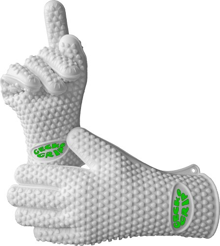 Verde River Products Silicone Heat Resistant Grilling BBQ Glove Set, Use As Potholder & Protective Oven, Grill, Baking, Smoking & Cooking Gloves, Small, White (Silicone Oven Mitt Small compare prices)