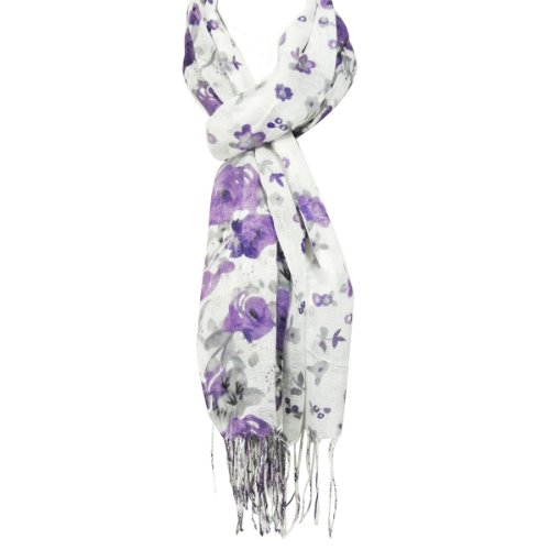 Wrapables Viscose Floral Print Scarf, Purple