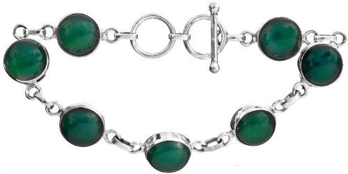 Sterling Bracelet with Gems - Sterling Silver - Color Green Onyx