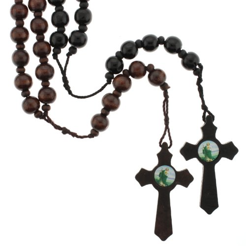 Set of Two Large Wood Rosaries - Black and Dark Brown - 12mm Wood Beads - Cross with St Jude Image - 40'' Necklace, 28'' Overall Length