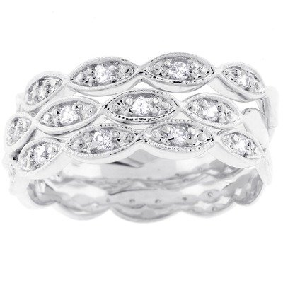 Silver-Tone Three-Band Cubic Zirconia Eternity Bridal Ring Size: 9