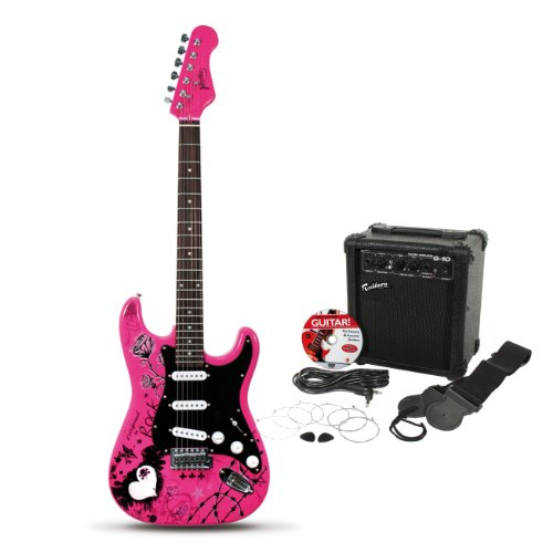 Jaxville Pink Punk ST Style Electric Guitar Pack