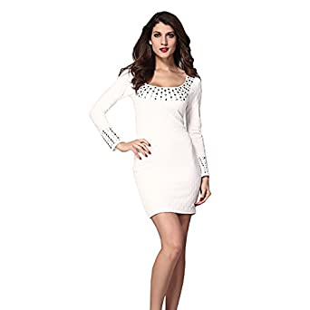 Women's Lady Sexy White Pleated Studded Long Sleeves Cocktail Evening Mini Dress