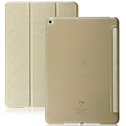 iPad Air 2 Case (iPad 6) - KHOMO DUAL Super Slim GOLD Cover with with See Through Clear back and Smart Feature (Built-in magnet for sleep / wake feature) For Apple iPad Air 2 Tablet