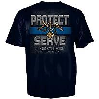Chris Kyle Frog Foundation Protect and Serve Blue Line Logo T-Shirt