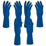 #5: Parineeta Hand Care Flocklined Rubberex Hand Gloves for kitchen, laundry, garden, floor scrubbing, washing (Medium, Set of 3 Pairs, Blue)