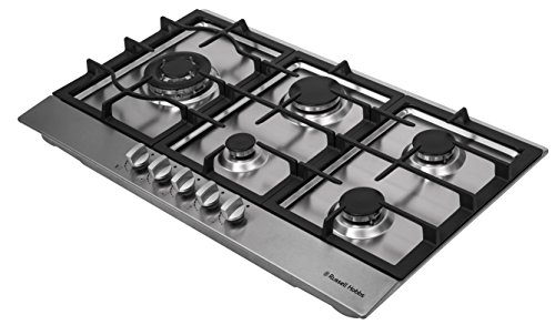Russell Hobbs Glass hob with 5 Gas Burners, Manual Dial Control, Cast Iron Pan Support, RH75GH601SS