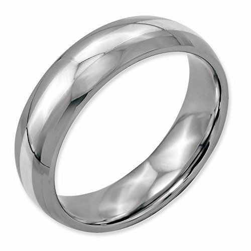 Men'S Stainless Steel Sterling Silver Inlay 6Mm Polished Band