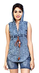 Carrel Brand Imported Denim Fabric Stylish Sleevless Solid Women's Hooded Buttoned shirts/Top Blue Colour Women L Size.