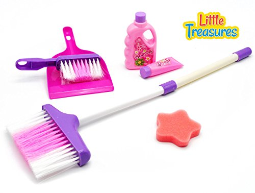 Little-Treasures-Mini-Cleaning-Play-Set-Complete-with-Broom-Cleaning-Solutions-Sponge-Hand-broom-and-Dustpan-play-Set-for-Children-Great-for-Your-Little-Helper