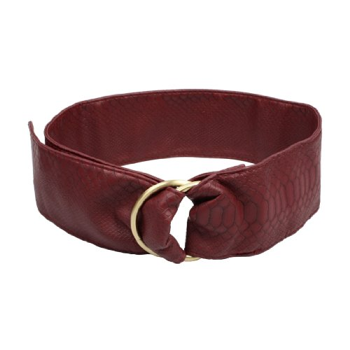 Faux Leather Double Ring Buckle Crocodile Pattern Waist Belt for Lady