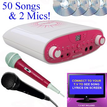Pink Portable Karaoke Family Party Pack CDG + Karaoke Machine CD Player - 2 Microphones  &  50 Songs (4 CD) - Pink