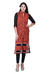 Drapes Womens Georgette Black Embroidery 3/4 Sleev Kurti (DK0020, Black, M)