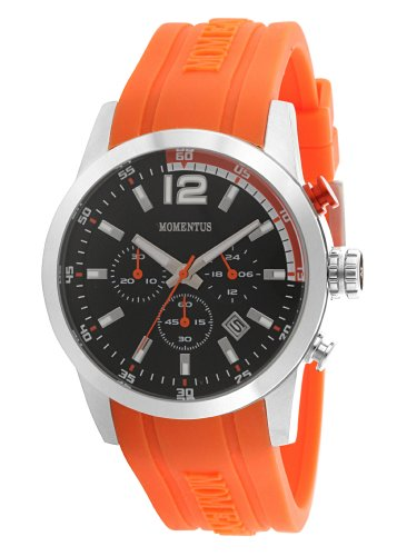 Momentus Stainless Steel with Orange Rubber Band & Black Dial Chronograph Men's Watch #FS312T-04RB