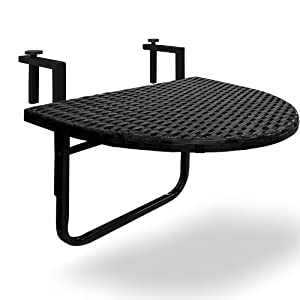 Balcony hanging table with steel structure and poly rattan - Table balcon pliante rabattable ...