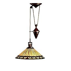 Kichler Lighting 65273 1-Light Yakima Art Glass Counter-Weight Adjustable Pendant, Tannery Bronze