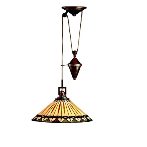 B000PW5ZSA Kichler Lighting 65273 1-Light Yakima Art Glass Counter-Weight Adjustable Pendant, Tannery Bronze