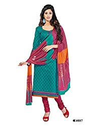 DARPAN TEXTILES Ethnicwear Women's Dress Material Green_Free Size