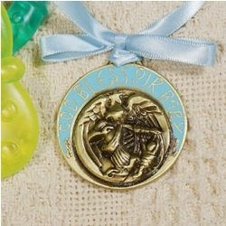Baby Boy's Guardian Angel Crib Medallion Baptism or Christening