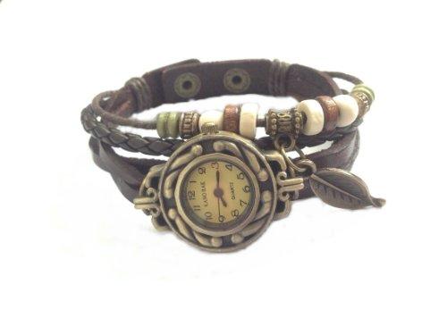 Kano Bak Brown Quartz Fashion Weave Wrap Around Leather Bracelet Lady Woman Wrist Watch