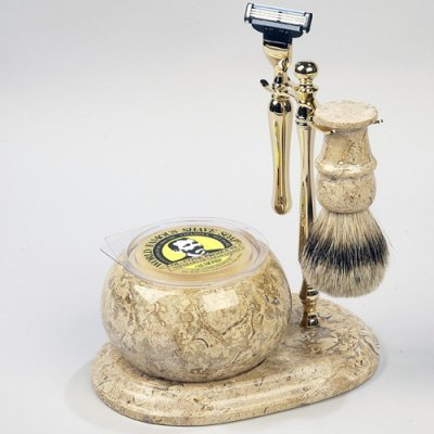 Colonel Conk No.250 Hand Crafted Shave Set, Gold
