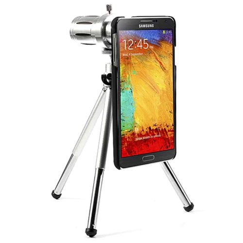 Soursingbay External 12X Zoom Cell Phone Telescope / Back Case For Samsung Galaxy Note 3 N9000 - Silver