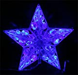 LED 3Dクリスタルスターモチーフ、ブルー30球、連結可能