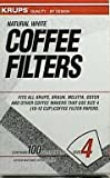 KRUPS 983 Natural White Paper Coffee Filters size 4, 100-Count