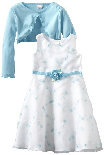 Youngland Girls 2-6X Two Piece All Over Embroidery Organza Dress Set, Turquoise, 4