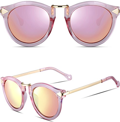 ce0b833d51 ATTCL® 2016 Vintage Fashion Round Arrow Style Wayfarer Polarized Sunglasses  for Women (Pink