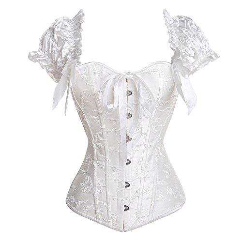 U-Pretty Ruched Sleeves Bridal Elegant Bustier Steel Boned Overbust Corset(White#636,M)
