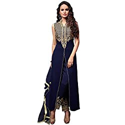 Awesome Fab Blue Georgette Semi-Stiched Embroidered Salwar Suits
