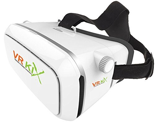 VRKiX Virtual Reality 3D Glasses, VR Headset for 360 Degree Viewing in Smartphone, Compatible with Google Cardboard app, White