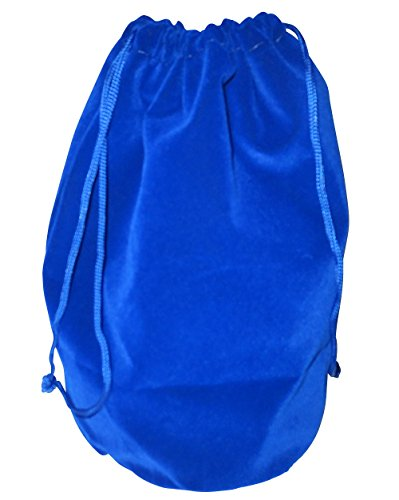 "Dice Bag (Blue): Soft Velour 8 1/4"" X 8"" with 5"" Round Diameter Flat Bottom - 1"